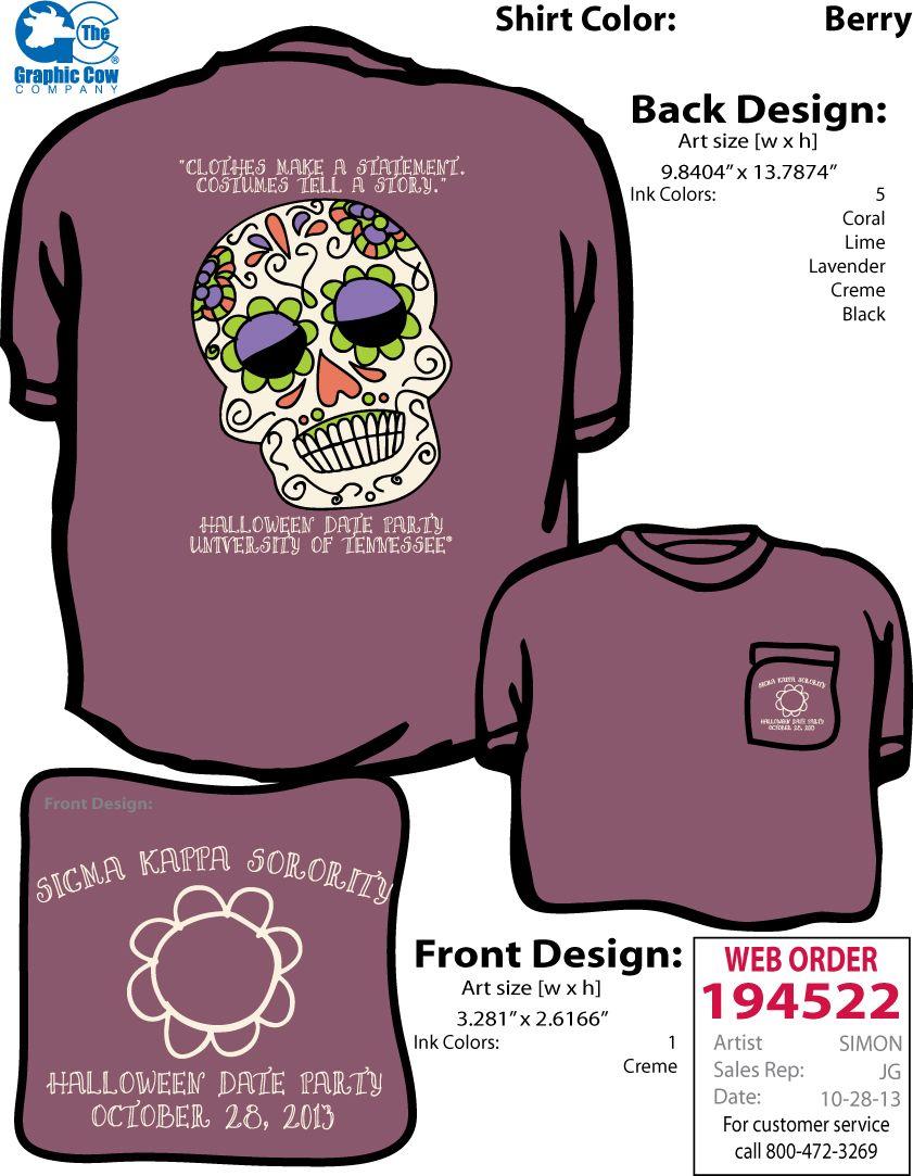 Sigma Kappa Halloween Date Party shirt that I designed! | ΣΚ ...