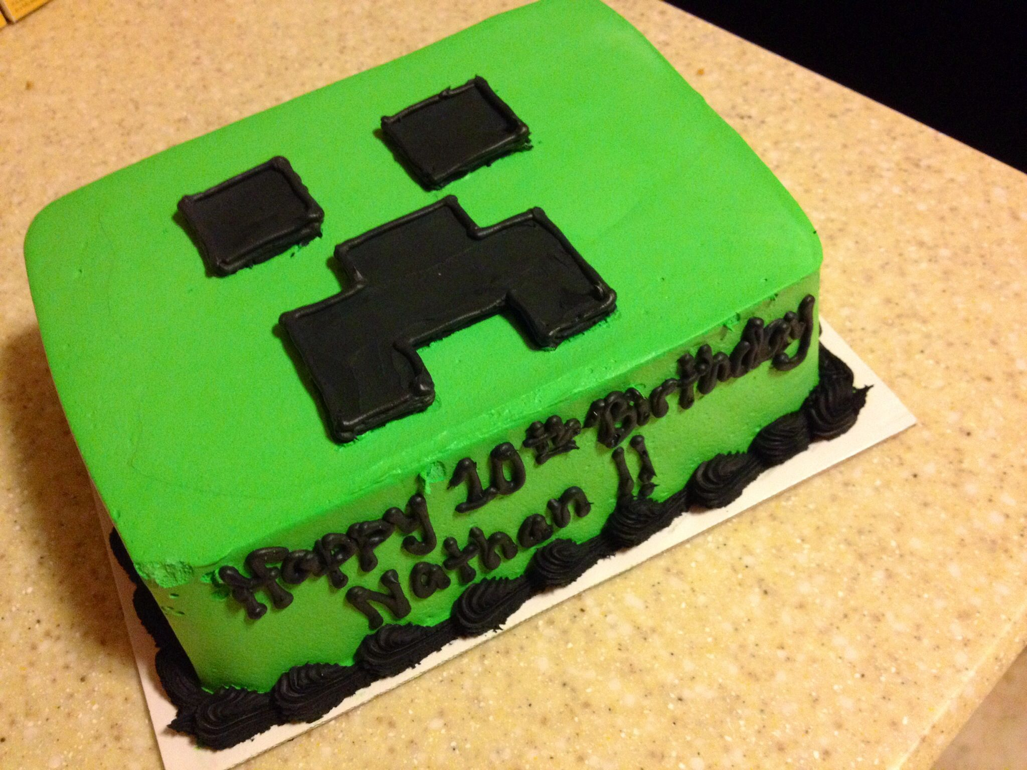 Custom Minecraft ice cream cake from Baskin Robbins Minecraft