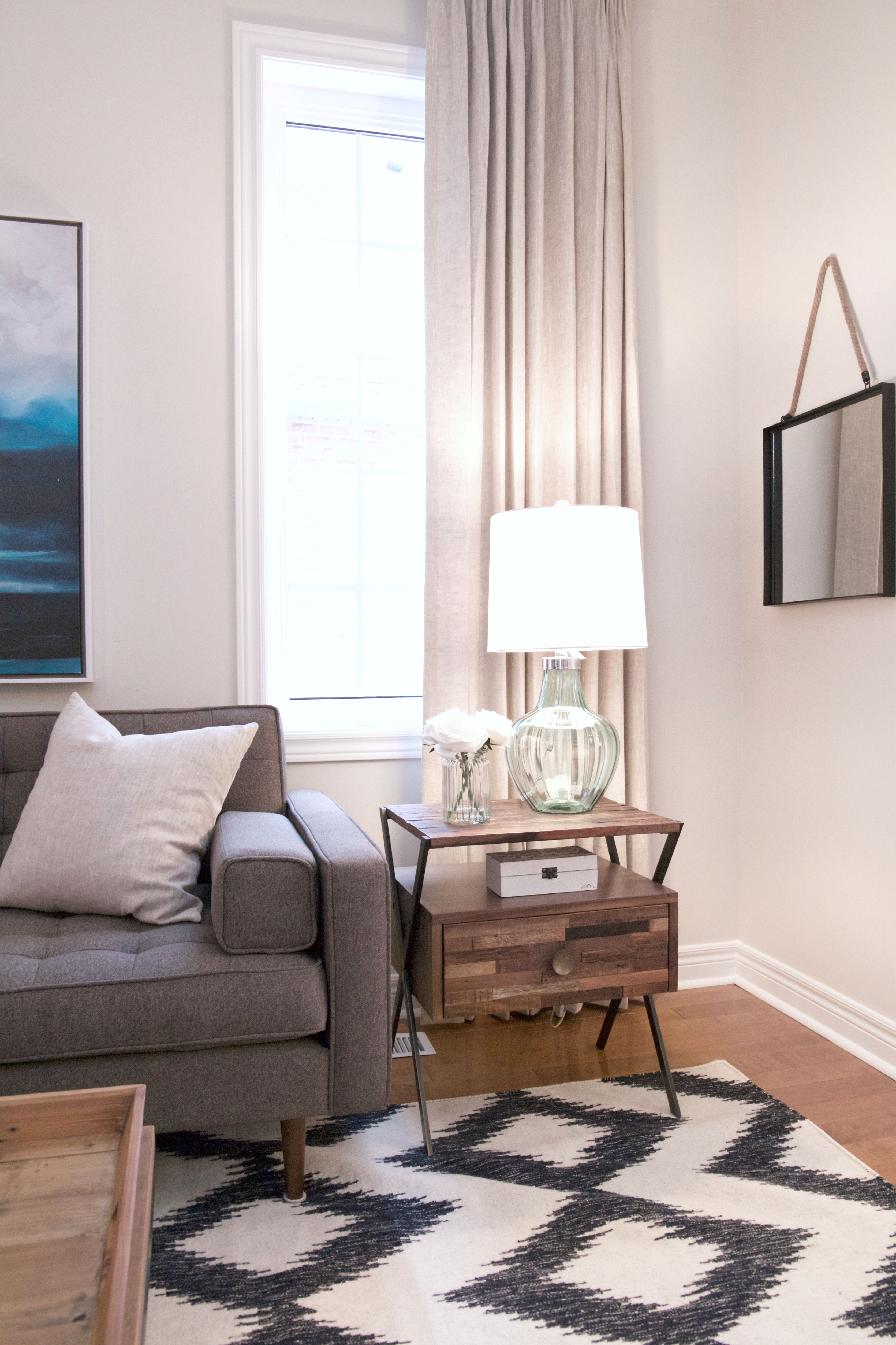 Beautiful and bright living room reveal. Tone on tone neutrals with ...