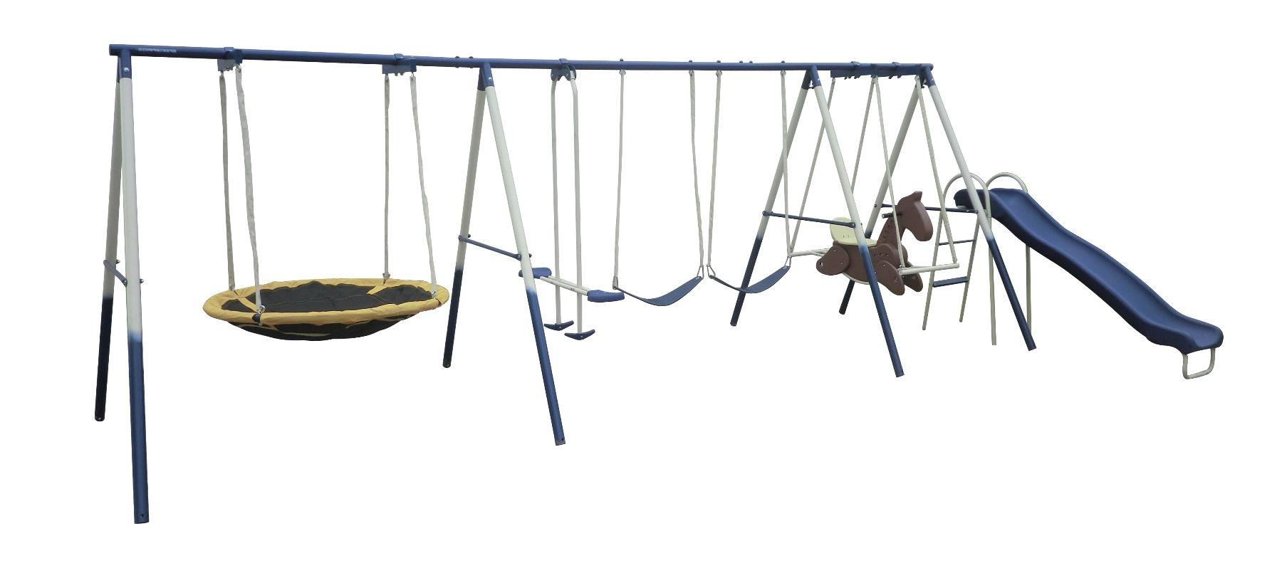 Super Fun 8 Station Swing Set Outdoor Recreational Toys Walmart