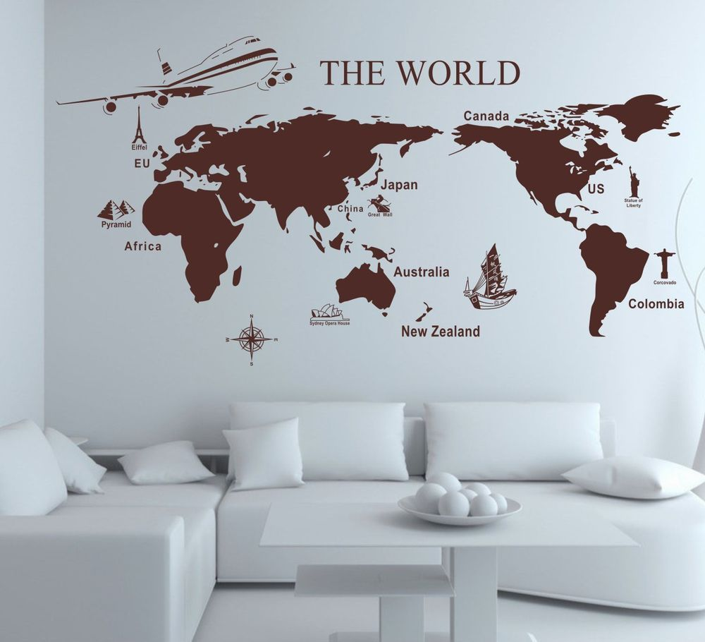 sticker carte du monde id es chambre petit gar on pinterest carte du monde le monde et. Black Bedroom Furniture Sets. Home Design Ideas