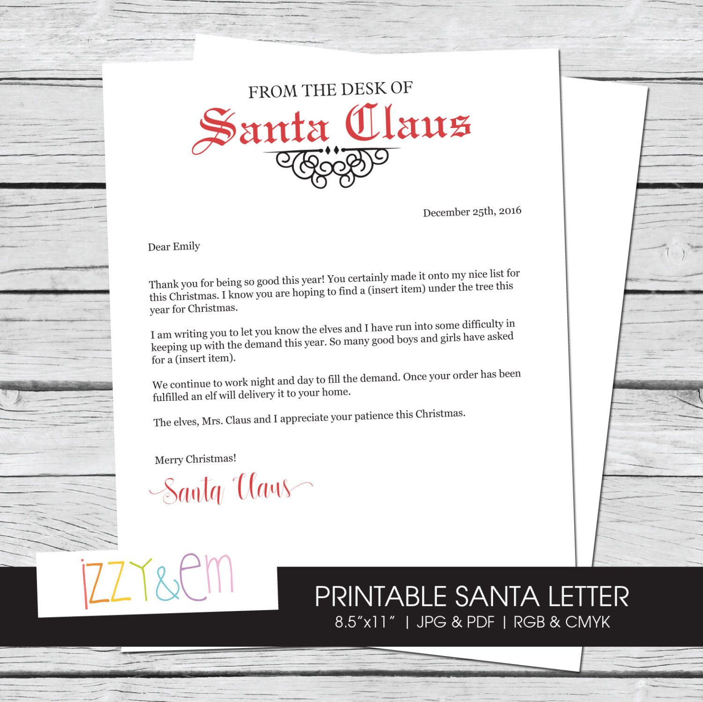 Letter From Santa  Editable Santa Letter  Santa Claus Letterhead