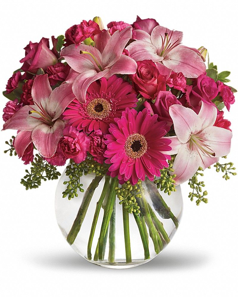 A little pink me up vase arrangement floral arrangements send flowers online with uk romance flowers and have the freshest flowers delivered in uk izmirmasajfo