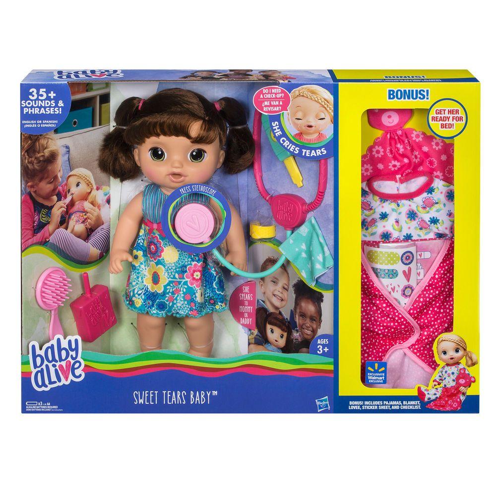 Baby Alive Sweet Tears Baby Bonus Pack Brunette Hair Doll Girls Kids Babyalive Dollswithclothingaccessor Baby Alive Doll Clothes Baby Alive Baby Doll Nursery