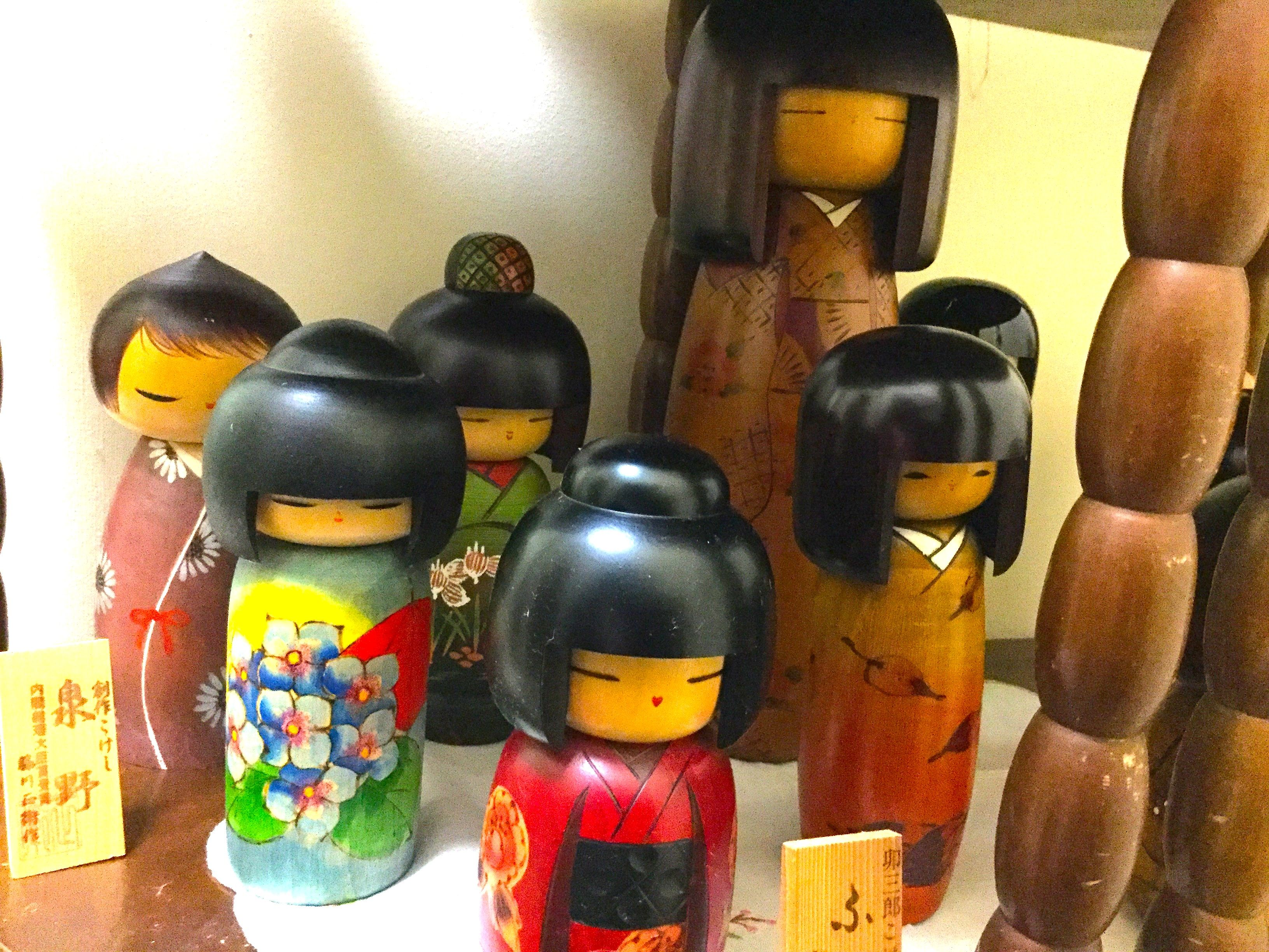 Not On The Top Shelf But These Kokeshis Are Loved Equally As Much Kokeshi Wooden Dolls Painting