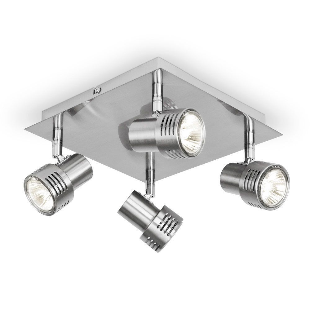 Modern Silver Chrome Square Halogen Kitchen Ceiling Light Fitting - Chrome kitchen ceiling lights