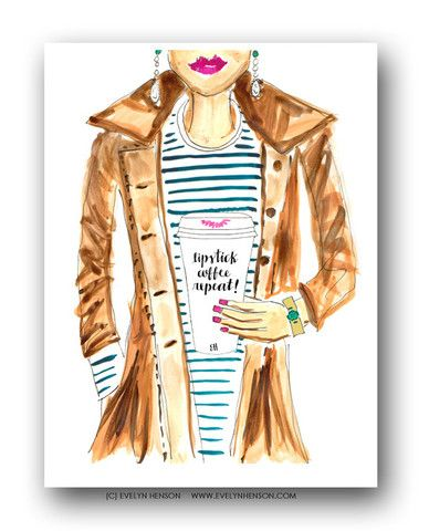 Lipstick, Coffee, Repeat! | Art Print by Evelyn Henson