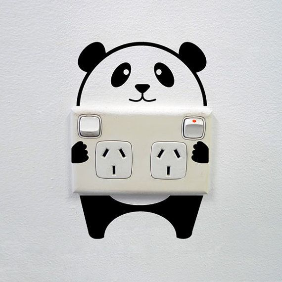 Panda Wall Decal For Powerpoints And Light Switches Wall Decor