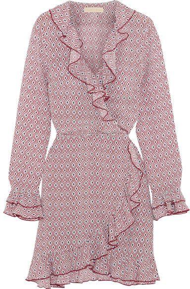 Fiesta Ruffled Printed Silk Crepe De Chine Wrap Mini Dress - Burgundy Paloma Blue ssHOiyxyxI