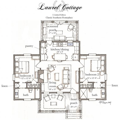 The Laurel Cottage Plan By C Brandon Ingram Artfoodhome Com Small Cottage House Plans Cottage Plan Cottage Floor Plans