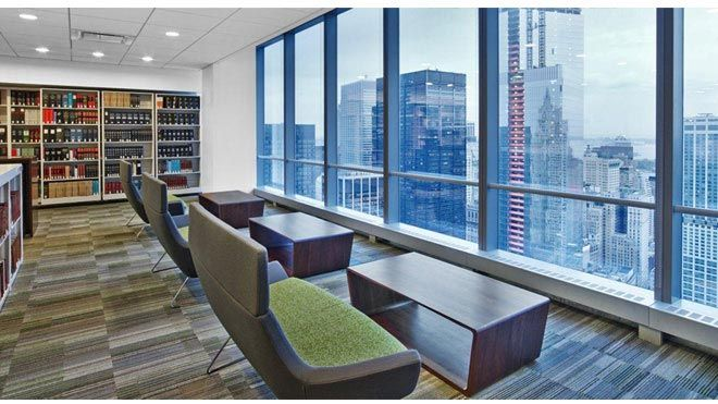 Hightower happy sofa in the law firm library of wilmerhale nyc ia interior architects for Small interior design firms nyc