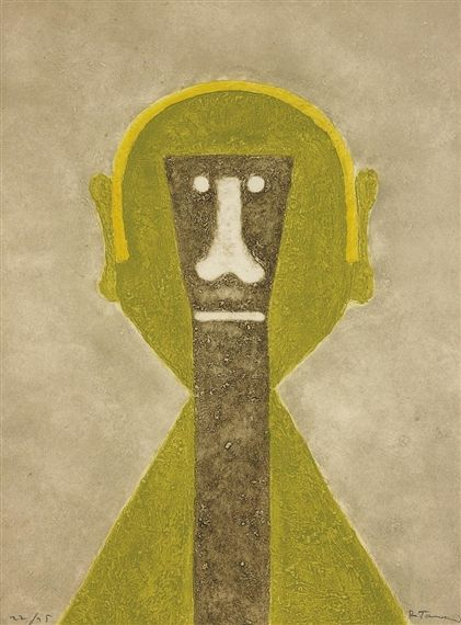 Artwork by Rufino Tamayo, Cabeza en Amarillo (Head in Yellow), Made of Etching and aquatint in colours with carborundum, on Guarro paper