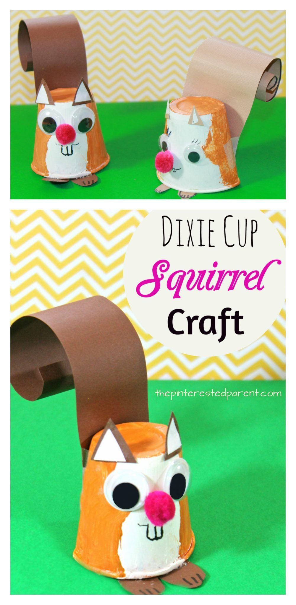 Dixie Cup Squirrel Craft - kid's arts and crafts for autumn / fall - paper animals