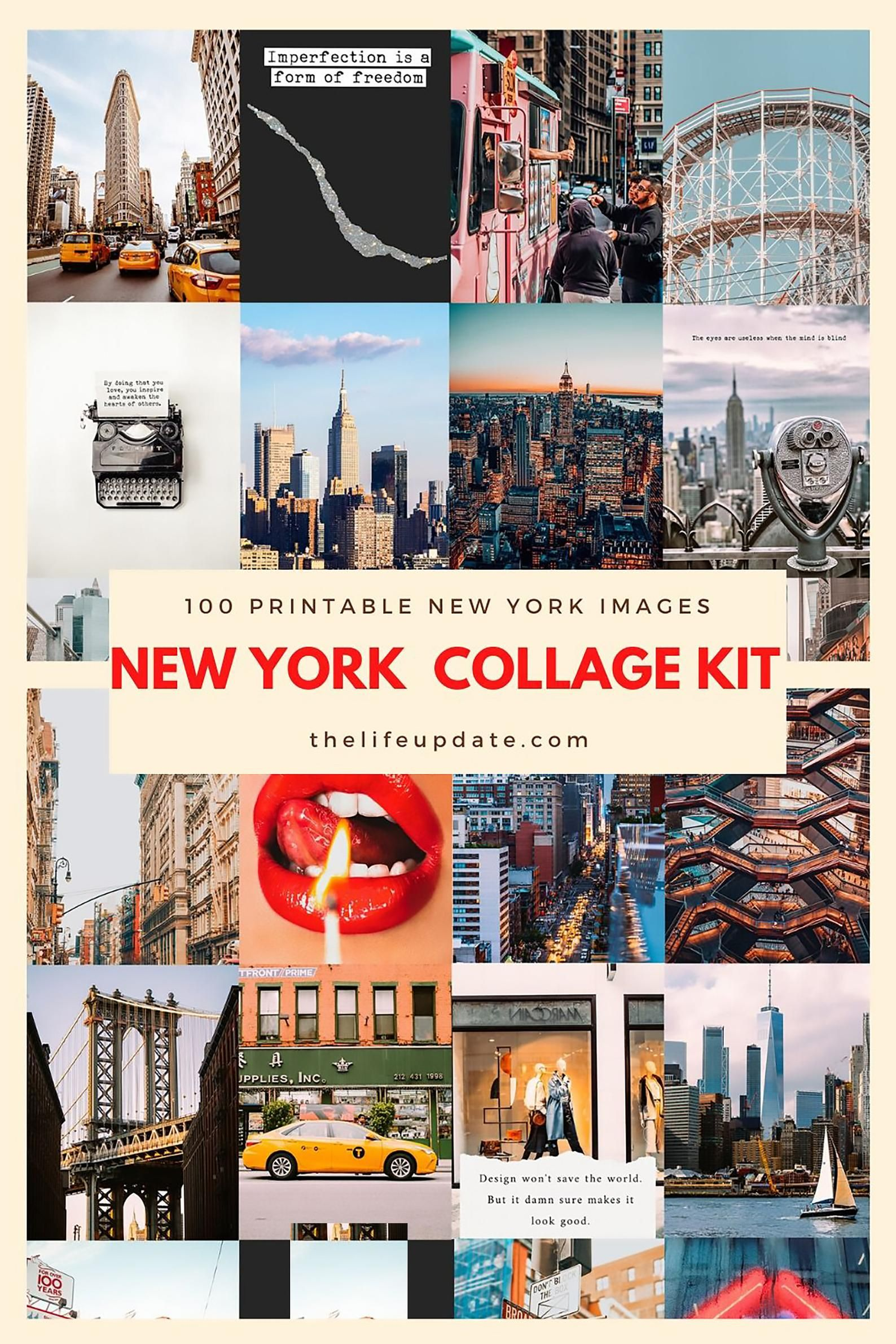 Funky Vibes 5th Ave Streets Home Decor Printable Download City New York Urban Collage Design Wall Art Buildings Pop Art