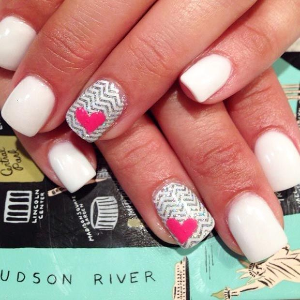 30 Lovely Valentine\'s Day Nails | Accent nails, White nails and Nail ...