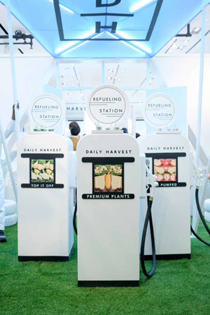 """Daily Harvest, a direct-to-consumer brand that delivers organic, plant-based meals, hosted a pop-up inspired by a retro gas station November 14 to 18 in New York's SoHo neighborhood. The brand's first-ever offline activation, which was produced by the Gathery, served smoothies from """"gas pumps."""""""