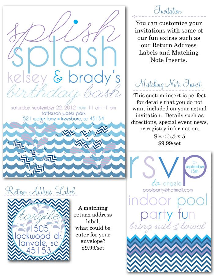 pool party invites, splash party, water party invitations, summer ...