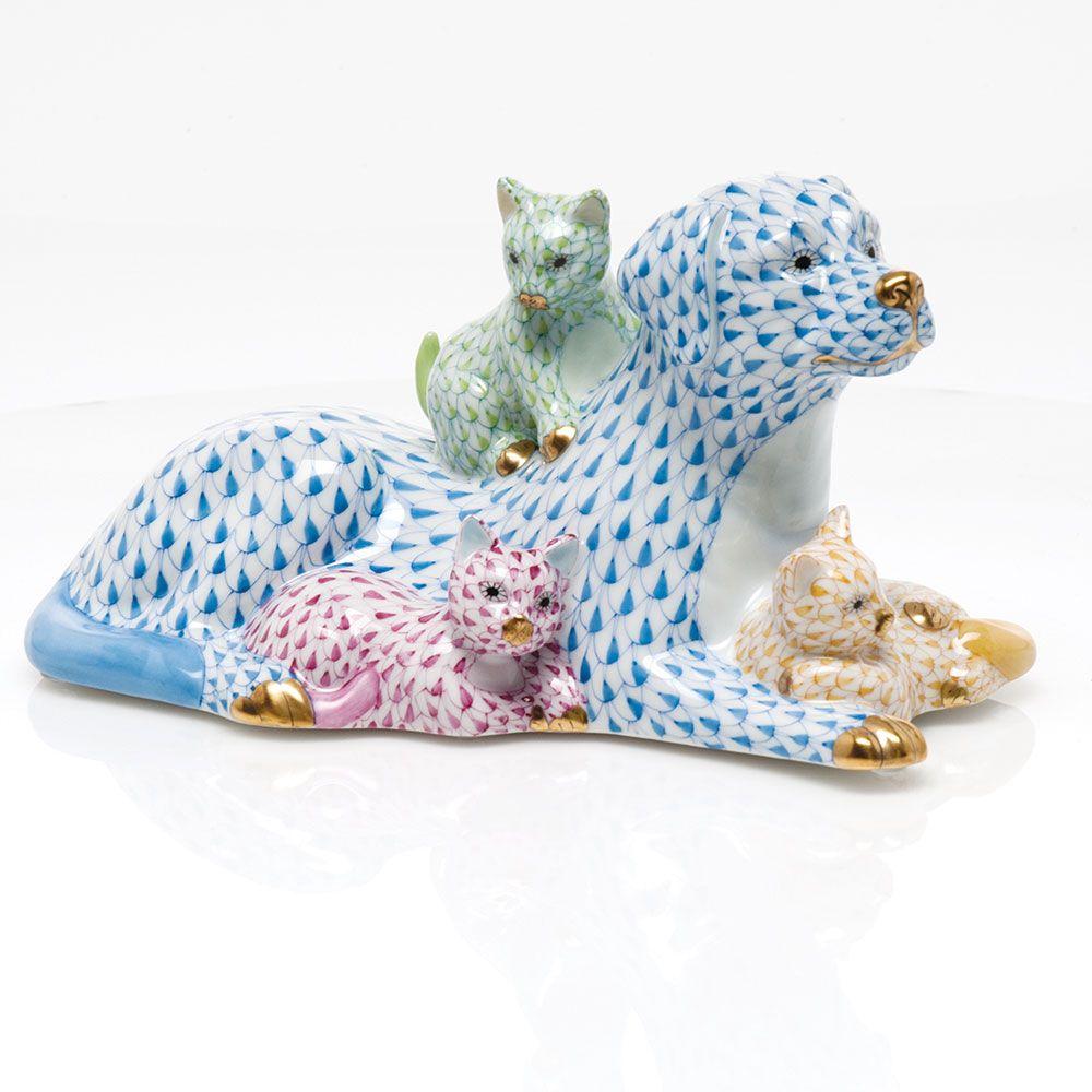 Herend Kangaroo Hand Painted Porcelain Figurine In Pink: Herend Hand Painted Porcelain Figurine Of Lying Down Dog