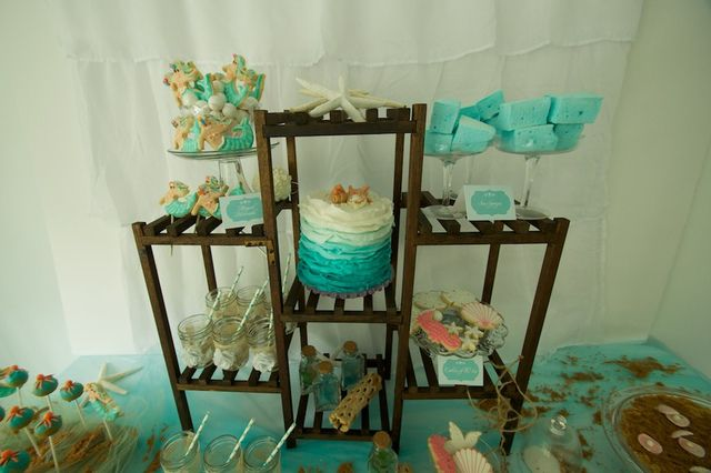 under the sea party, tiers on the table