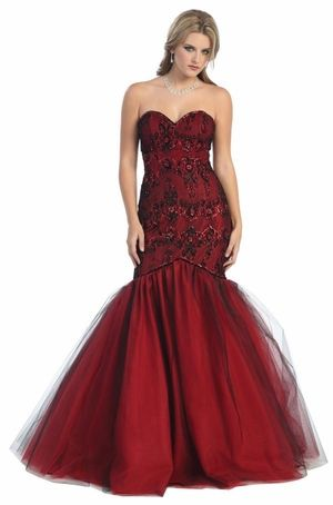 Red Carpet Black/Red Mermaid Prom Dress Quinceanera Strapless ...