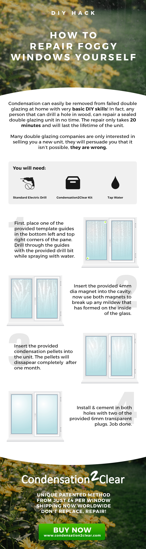 Diy Hack How To Repair Foggy Windows Yourself Condensation2clear Window Repair Windows Home Improvement