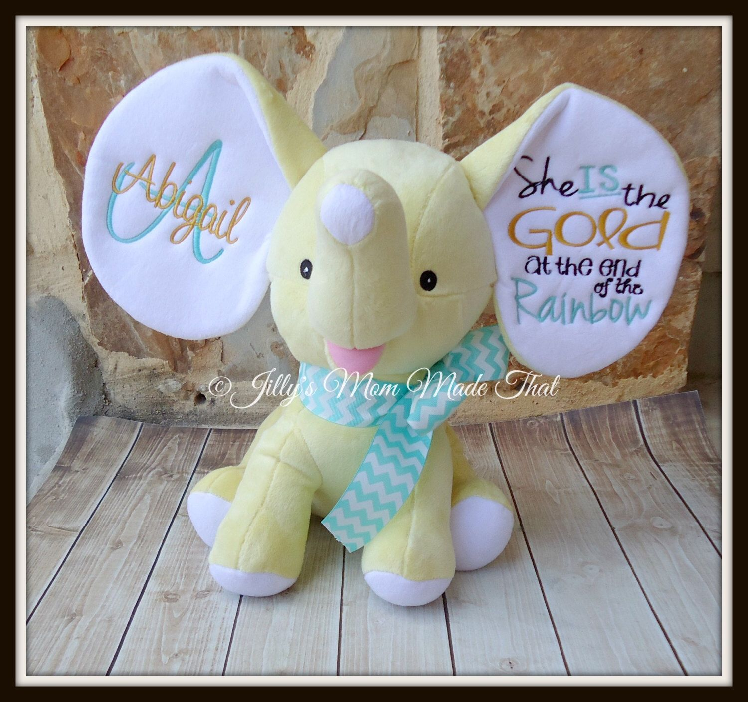 Yellow Floppy Ear Stuffed Elephant Gold Black And Teal