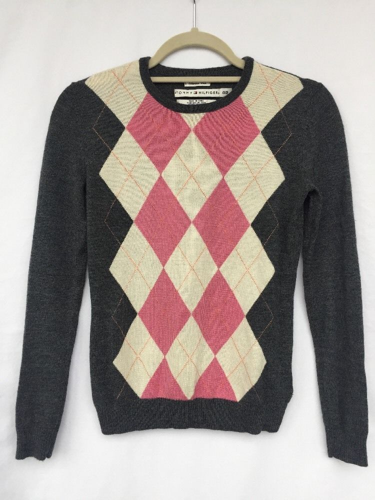 Womens Tommy Hilfiger V Neck Argyle Sweater XSmall Pink Gray Tan Merino Wool #TommyHilfiger #VNeck