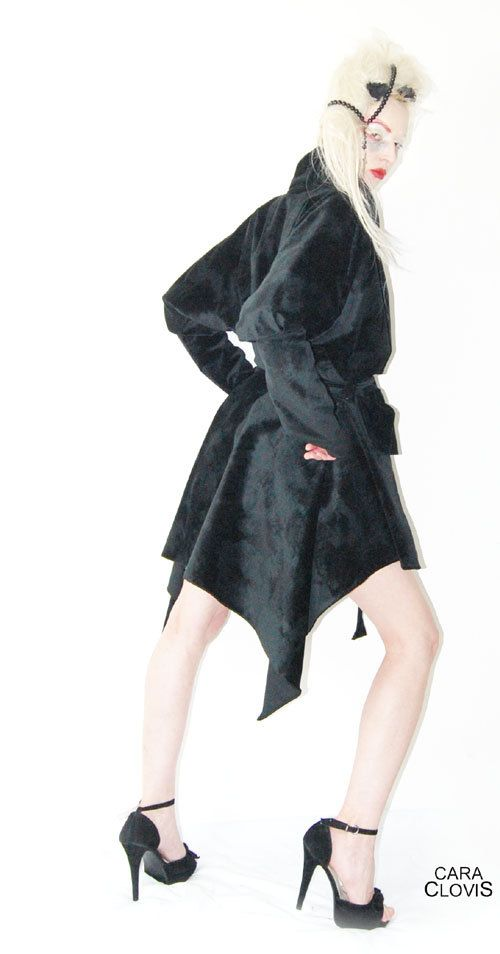 Samt mantel schwarz lang