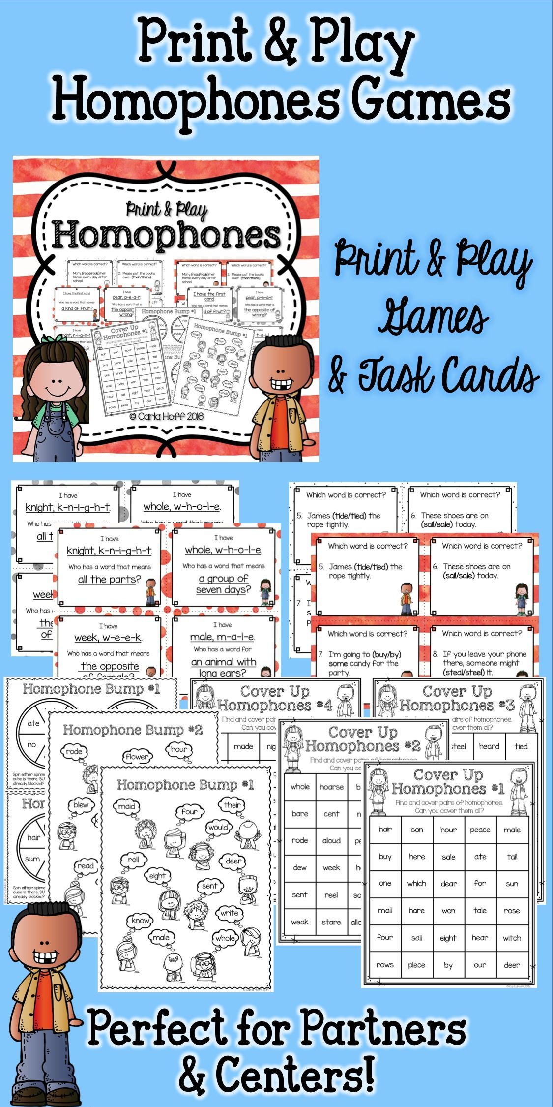 Homophones Task Cards And Games