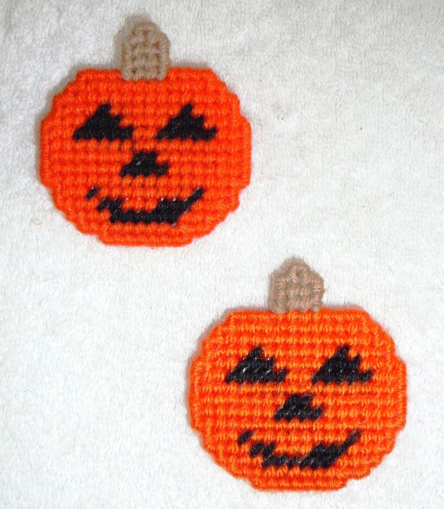 Magnets Pumpkin Jack O Lantern Hand Stitched Finished Back