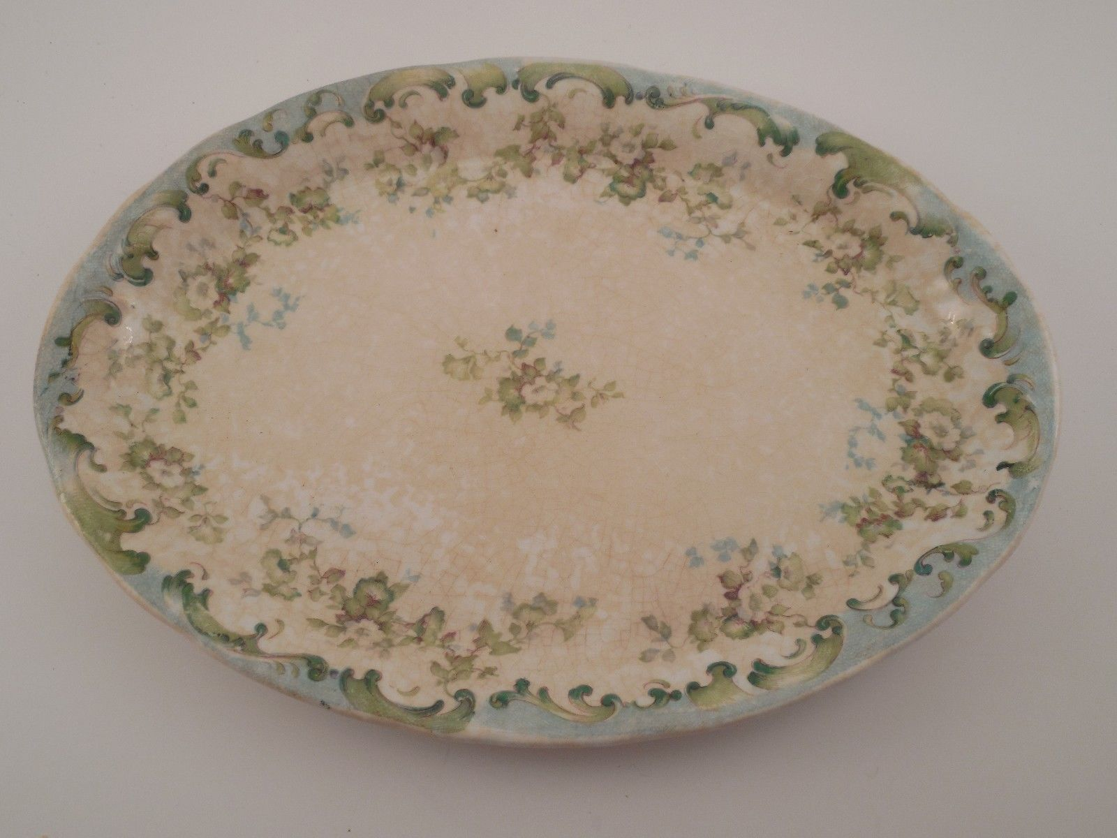 Antique Laughlin Semi-Vitreous China \ Colonial\  Small Oval Snack Serving Plate & Antique Laughlin Semi-Vitreous China \
