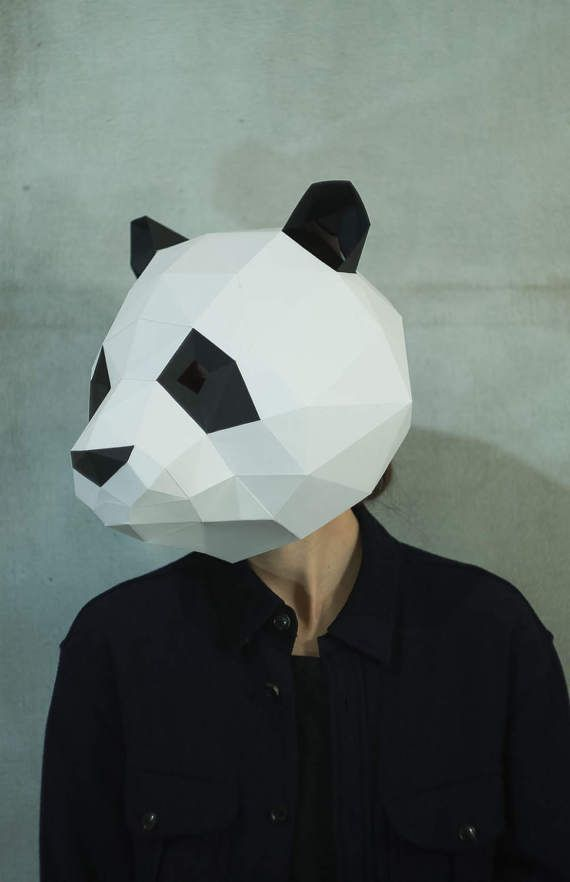 Make Panda Mask,DIY 3D Mask,PDF,Pattern Mask,Polygon Paper Mask,Template, Printable Head,Low Poly,Papercraft Face Mask,Costume,Party,Gift,Art  Paper Face Mask Template