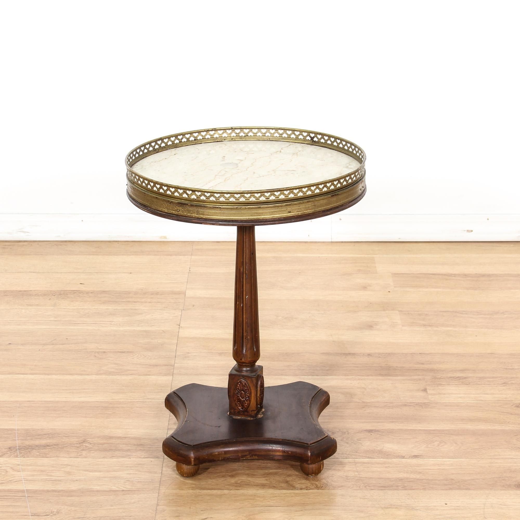 This European Inspired End Table Is Featured In A Solid Wood With A  Distressed Walnut Finish. This Side Table Has A A Round Marble Table Top  With A Carved ...