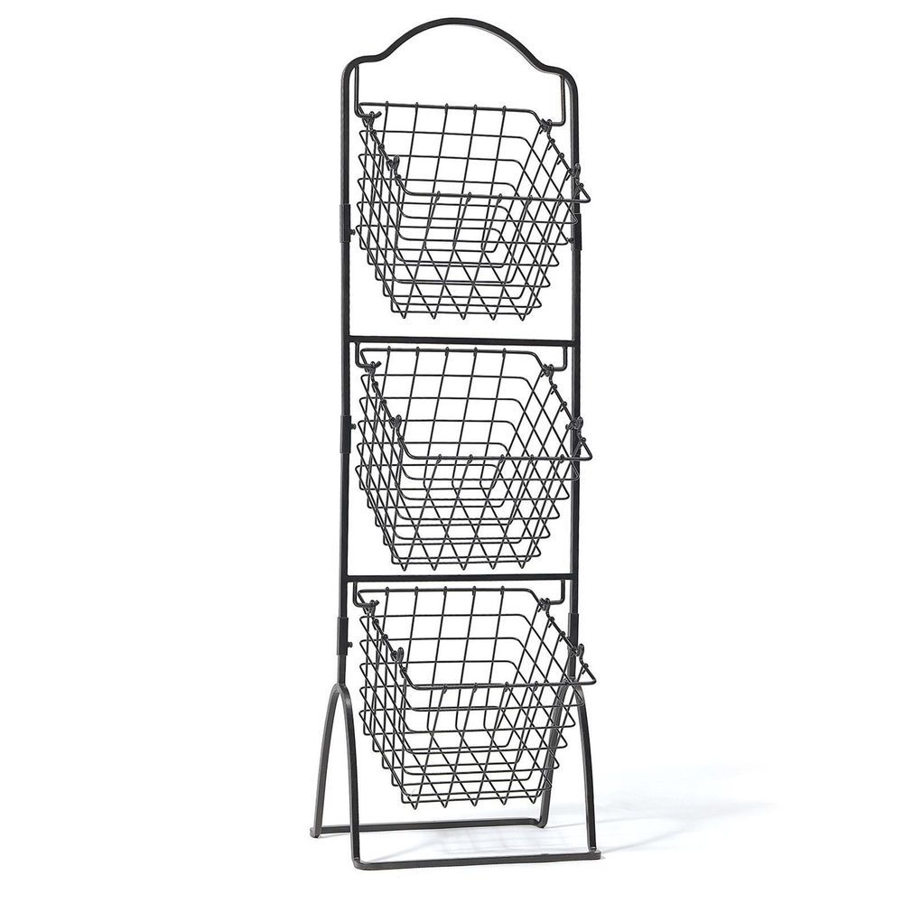 Wire Basket Rack Storage Bin Vegetable Fruit Black Metal Organizer Display Market Baskets Storage Baskets Metal Baskets