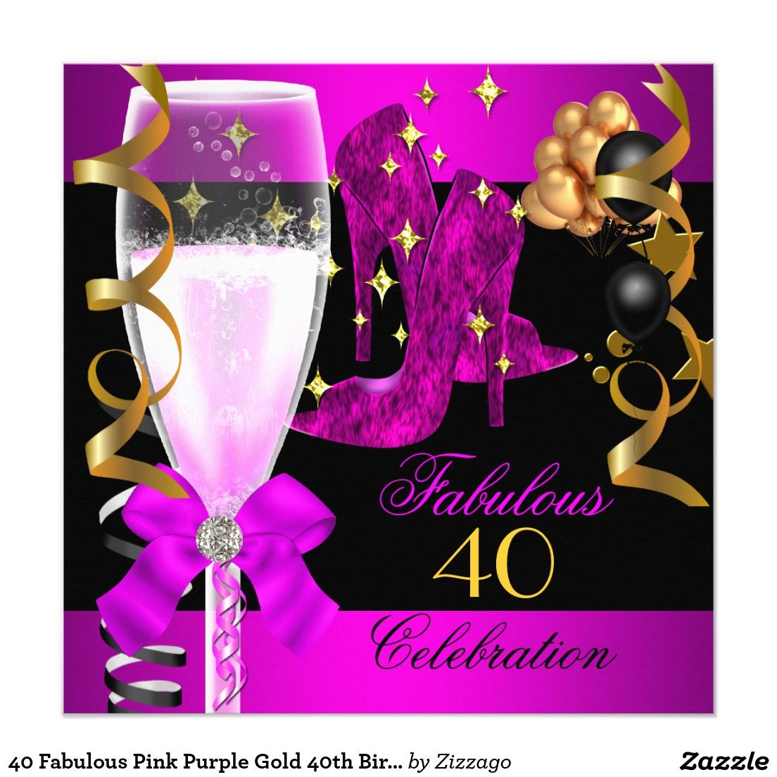 40 Fabulous Pink Purple Gold 40th Birthday Party Card | Purple gold ...