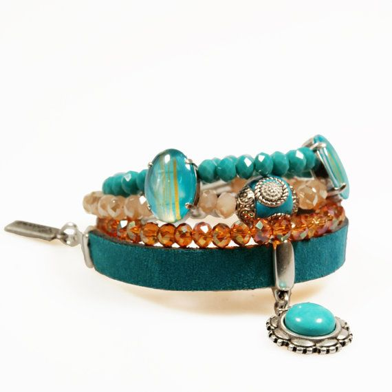 Bracelet emerald green leather and beads  cuff by CatenaSieraden, €49.95