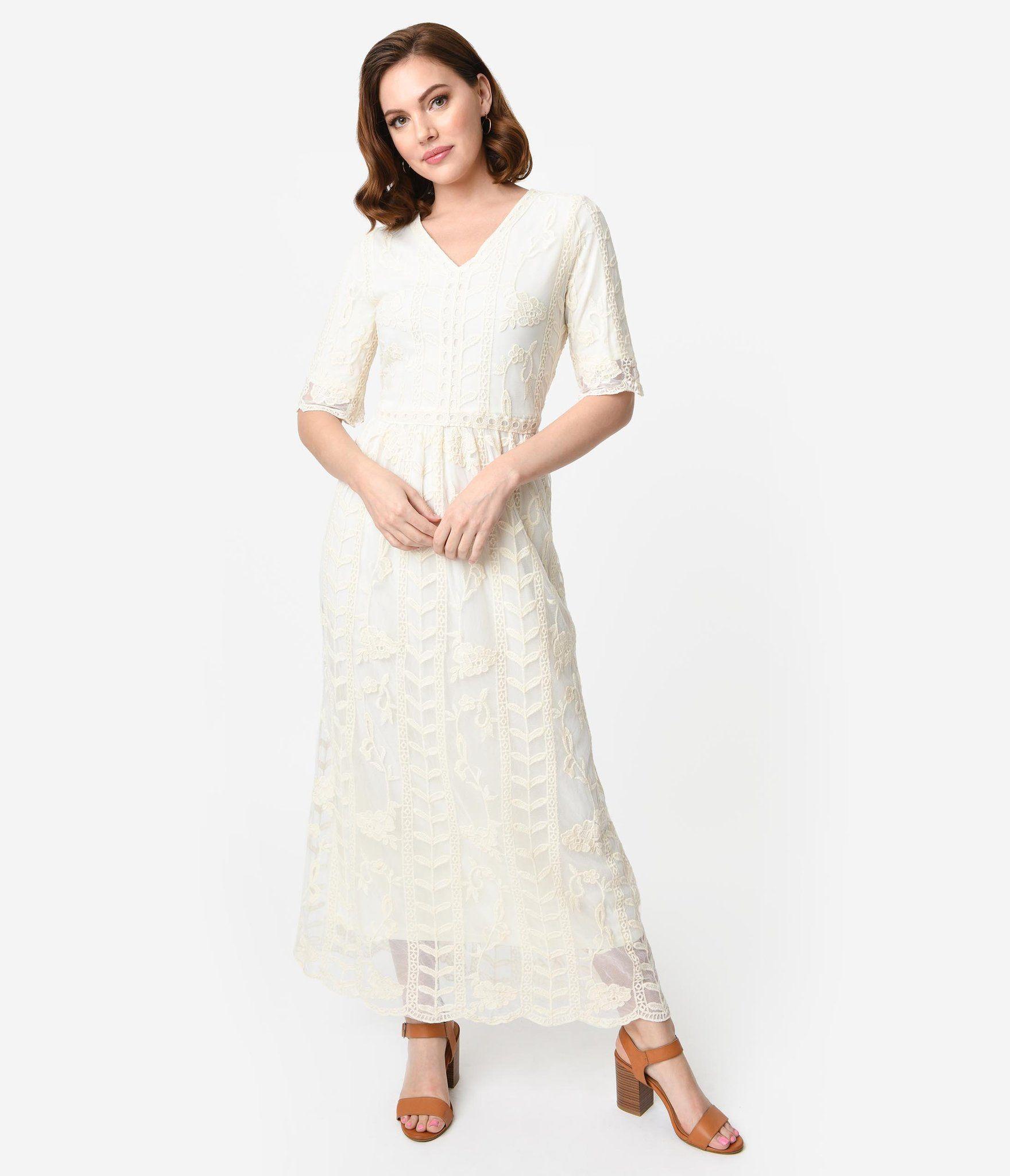 1900 Edwardian Dresses Tea Party Dresses White Lace Dresses 1940s Style Antique Cream Lace Long Sleeve Short Dress Edwardian Fashion Dresses Lace White Dress [ 2048 x 1759 Pixel ]