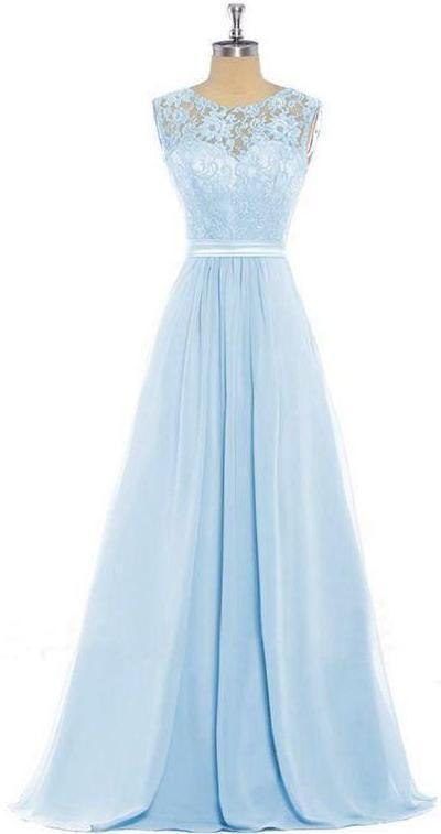 Light Blue Lace Tank Chiffon Bridesmaids Evening Dresses