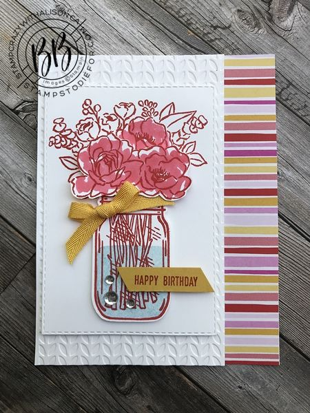 jar of flowers stepped up cards  hand stamped cards