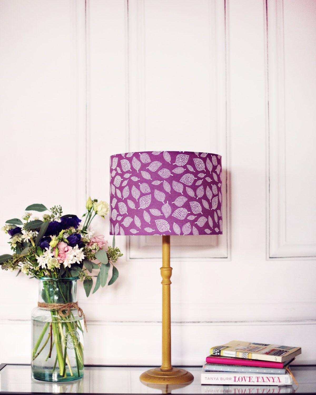 Purple Lamp Shade Purple Scandi Lampshade Purple Bedroom Decor Leaf Lampshade Leaf Decor Purple Nursery Purple Lamp Shade Purple Lamp Purple Bedroom Decor