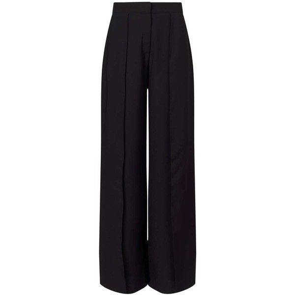 Miss Selfridge Black Split Front Trousers found on Polyvore featuring pants, bottoms, trousers, black, miss selfridge and party pants