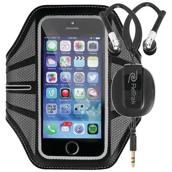 "iPhone(R) 6 4.7""/Samsung(R) Galaxy S(R) 5 Large Sports Armband with Retractable Earwraps (Black) - RETRAK - ETARMLBK"