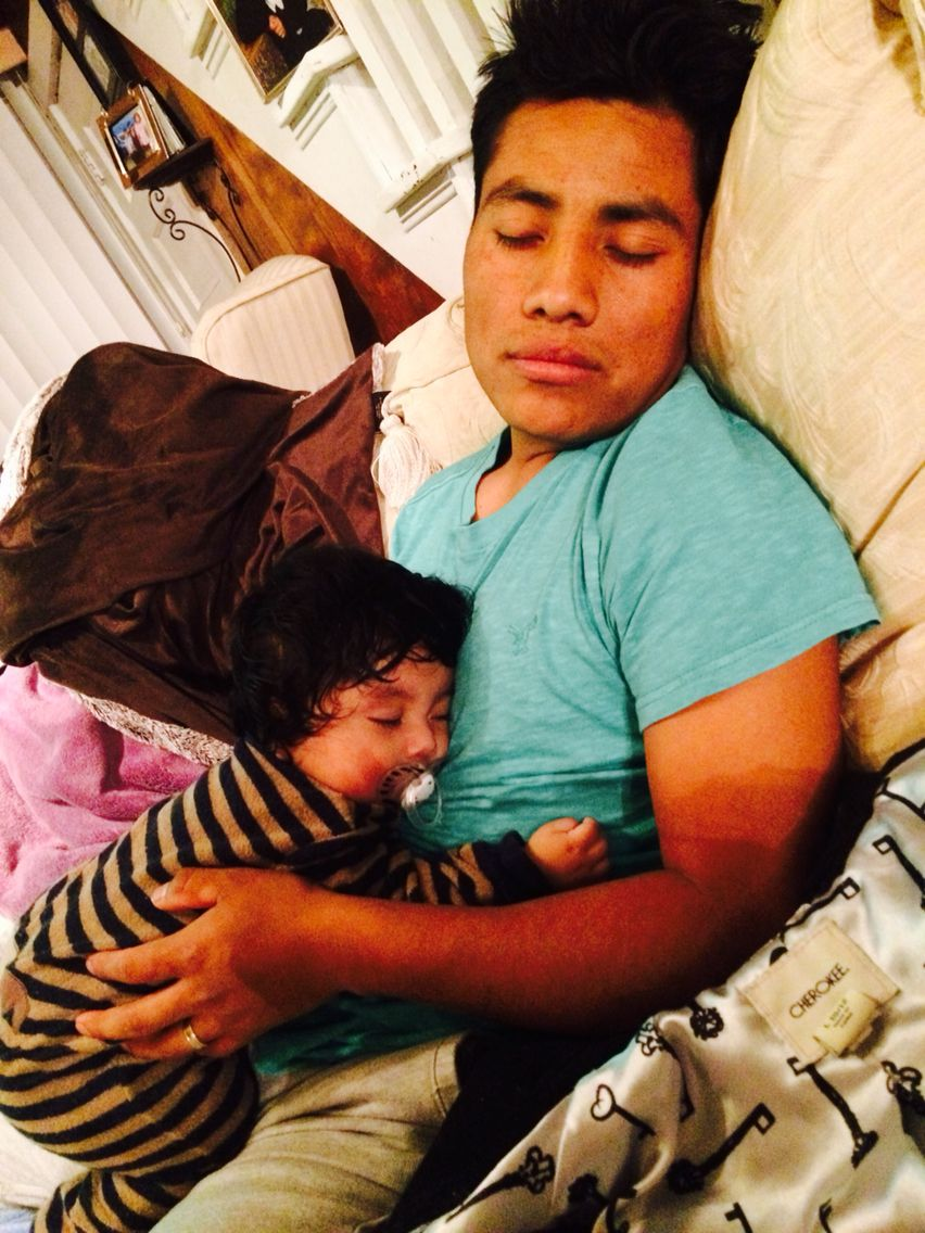 Hubby sleeping!!!!! Daddy and baby
