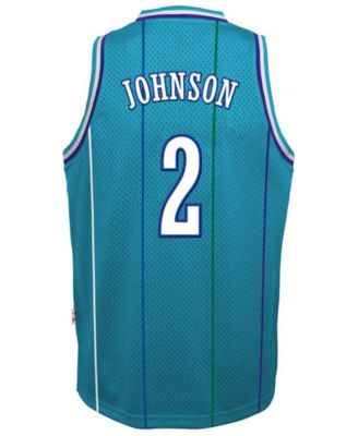 1e949907c965a adidas Big Boys Larry Johnson Charlotte Hornets Retired Player Swingman  Jersey - Blue S