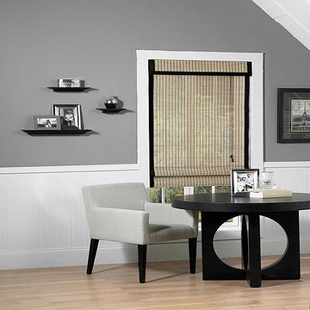 "Riviera Natural and Black Woven Wood Bamboo Roman Window Shade, 23"" x 72"""