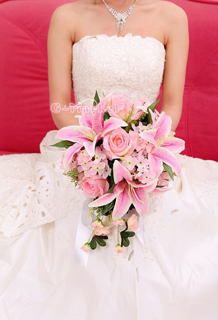 Handmade Bride Wedding Bouquet Flower Teardrop Posy 25 27 Pink Lily Rose Auction
