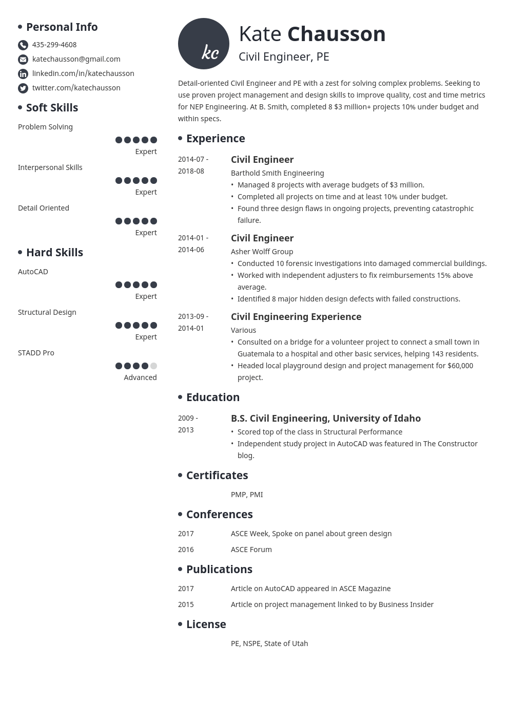 Civil Engineer Resume Examples Templates, Format