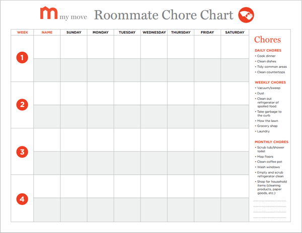 Creating A Roommate Chore Chart In 5 Easy Steps