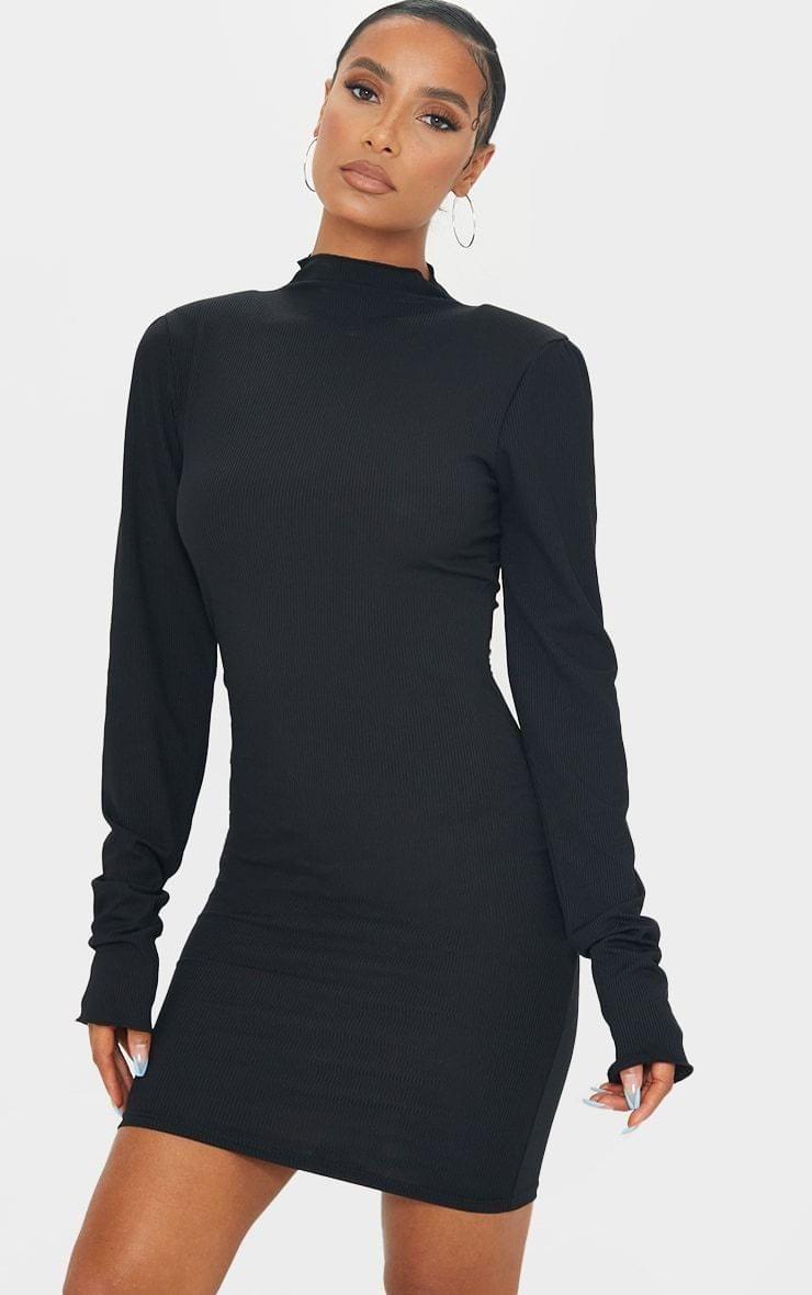 Black Rib Shoulder Pad Lettuce Cuff Bodycon Dress 17 Bodycon Dress Black Rib Bodycon [ 1180 x 740 Pixel ]