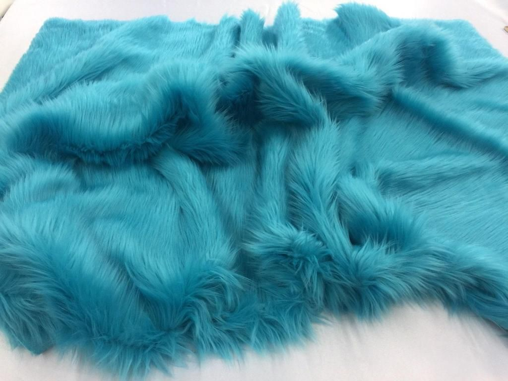 Supreme Luxurious Faux Fur Fabric Mongolian Design Turquoise Sold